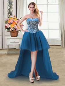 Tulle Sweetheart Sleeveless Lace Up Beading Junior Homecoming Dress in Teal