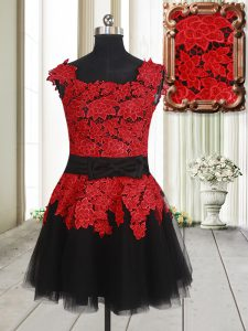 High Class Square Sleeveless Tulle Mini Length Zipper Prom Homecoming Dress in Red And Black with Appliques
