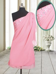 Flirting One Shoulder Chiffon Sleeveless and Beading