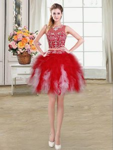 Perfect Red Homecoming Party Dress Prom and Party with Beading and Ruffles Scoop Sleeveless Zipper