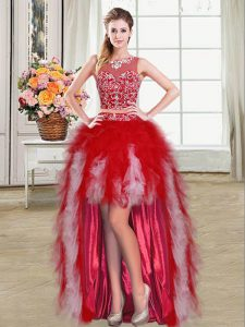 Best Scoop Red Tulle Zipper Homecoming Dress Sleeveless High Low Beading and Ruffles
