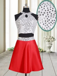 Extravagant White And Red Satin Criss Cross Halter Top Sleeveless Mini Length Junior Homecoming Dress Beading