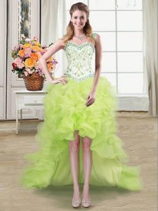 Decent Straps Sleeveless Lace Up High Low Beading and Ruffles Homecoming Dresses