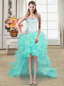 Straps Sleeveless High Low Beading and Ruffles Lace Up with Aqua Blue