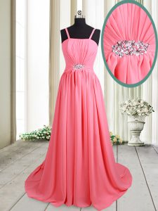 Pink Empire Chiffon Straps Sleeveless Beading Lace Up Homecoming Party Dress Brush Train