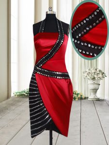 Halter Top Red And Black Elastic Woven Satin Side Zipper Homecoming Dress Sleeveless Knee Length Beading