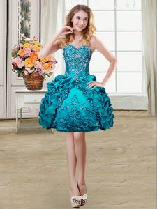 Charming Teal Ball Gowns Sweetheart Sleeveless Organza and Taffeta Mini Length Lace Up Beading and Embroidery and Pick Ups Homecoming Dress Online