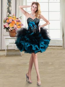 Sleeveless Beading and Ruffles and Hand Made Flower Lace Up Homecoming Dress Online