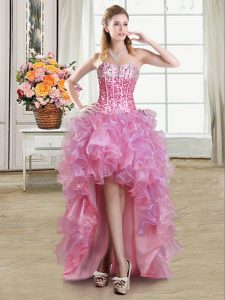 Luxury Pink Sweetheart Neckline Sequins Sleeveless Lace Up
