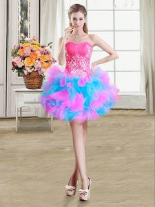 Multi-color Ball Gowns Organza and Tulle Sweetheart Sleeveless Beading and Ruffles Mini Length Zipper Homecoming Party Dress