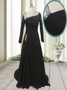 Black A-line Beading Junior Homecoming Dress Side Zipper Chiffon Long Sleeves With Train
