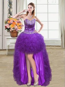 Elegant Sleeveless Tulle Mini Length Lace Up Junior Homecoming Dress in Eggplant Purple with Beading and Ruffles