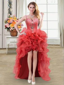 Straps Sleeveless High Low Beading and Ruffles Lace Up Homecoming Gowns with Coral Red