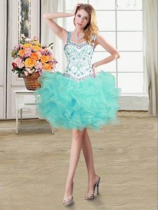 Aqua Blue Ball Gowns Straps Sleeveless Organza Mini Length Lace Up Beading and Ruffles Homecoming Gowns