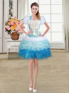 Multi-color Lace Up Sweetheart Beading and Appliques and Ruffles Homecoming Party Dress Organza Sleeveless