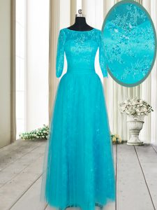 Attractive Scoop Half Sleeves Zipper Floor Length Beading and Lace and Appliques