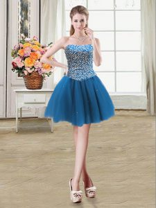 Sweetheart Sleeveless Tulle Beading Lace Up