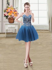 Discount Sequins Teal Sleeveless Tulle Lace Up Homecoming Gowns for Prom and Party