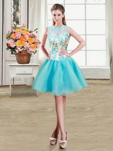 Fabulous Scoop See Through Sleeveless Mini Length Beading Zipper Homecoming Dress Online with Aqua Blue