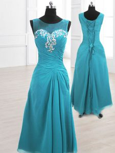 Sexy Teal A-line Scoop Sleeveless Chiffon Floor Length Lace Up Beading and Ruching Homecoming Dress