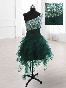 Peacock Green A-line Organza One Shoulder Sleeveless Beading and Ruffles Knee Length Lace Up Hoco Dress