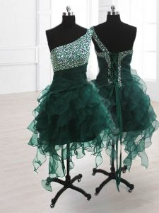 Hot Selling One Shoulder Sleeveless Knee Length Beading and Ruffles Lace Up Homecoming Dresses with Peacock Green