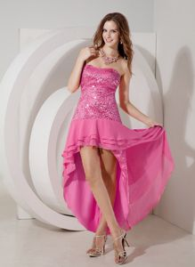 Discount Hot Pink High-low Strapless Homecoming Dress in Chiffon and Sequin in Joplin