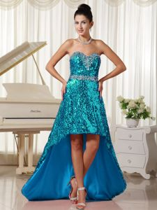 Paillette Over Skirt with Beautiful Sweetheart Homecoming Dresses in High-low in Kansas