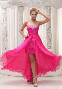 Hot Pink Sweetheart Detachable Homecoming Dresses in Chiffon and Sequin in Illinois