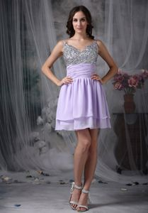 Empire Straps Short Chiffon Beaded Celebrity Homecoming Dress in Mini-length from Indiana