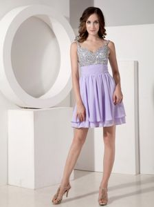 Lilac Empire Strap Mini-length Chiffon Homecoming Princess Dresses in Beaded from Illinois