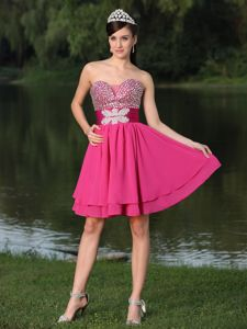 Custom Size Beaded Decorate Bust Homecoming Cocktail Dresses in Hot Pink from Indiana