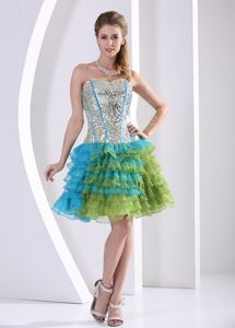 Multi-color Ruched Layered Beaded Print Homecoming Dresses in Party Style in Lincoln