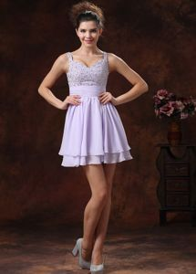 Lilac Straps Beaded Decorate Evening Homecoming Dress with Mini-length in Lincoln