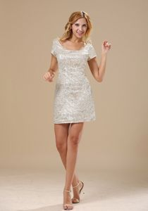 Scoop Short Sleeves Pailletted Style Celebrity Homecoming Dress in Peterhead