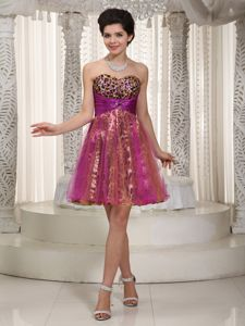 Colorful A-line Sweetheart Beaded Homecoming Dress with Leopard in Kinloss