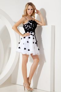 White and Black Straps Organza Homecoming Dresses for Prom in Bucksburn
