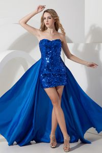 Mini-length Sequined Party Dress for Homecoming in Royal Blue in Buckie