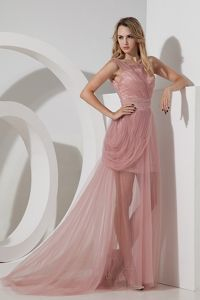 Column Straps Beaded Light Pink Brush Train Homecoming Dresses in Braemar