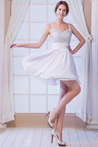 A-line Straps Mini-length Plus Size Homecoming Dresses in White in Banchory