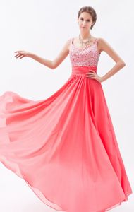 Empire Straps Beaded Homecoming Dresses On Sale in Coral Red in Aberdeen