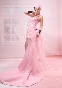 Pink Watteau Halter Evening Homecoming Dress with Beads in Inverkeithing