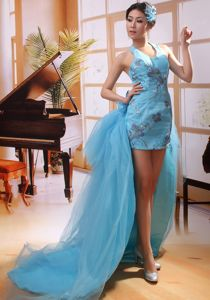 Halter Top Appliqued Watteau Train Homecoming Dresses On Sale in Ceres