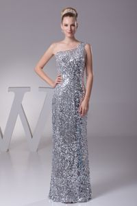 Silver One Shoulder Sequined Homecoming Princess Dresses in Newton Stewart