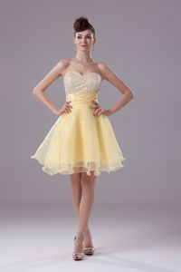 Sweetheart Beaded Vintage Homecoming Dresses in Light Yellow in Callander