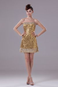Gold Column Strapless Short Sequined Celebrity Homecoming Dress in Alva