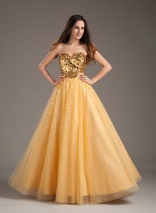 A-line Sweetheart Gold with Tulle Party Dress for Homecoming in Stirling