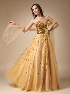Gold Sweetheart Sequined and Tulle Plus Size Homecoming Dresses in Killin
