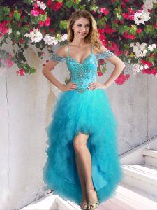 Great Teal Off The Shoulder Lace Up Beading and Ruffles Homecoming Dress Online Sleeveless