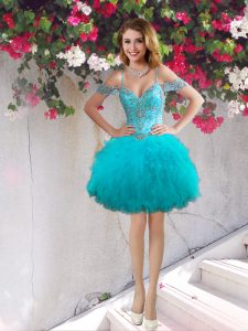 Hot Selling Off the Shoulder Sleeveless Beading and Ruffles Lace Up Homecoming Gowns